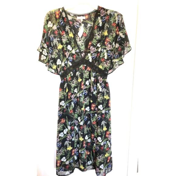 Max Studio Floral V Neck Flutter Sleeve Dress NWT! aec85892f